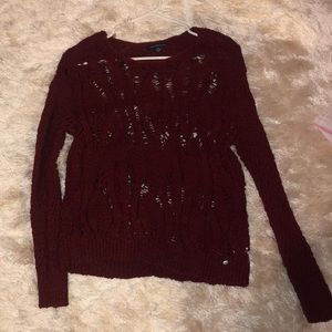 Maroon cut out sweater